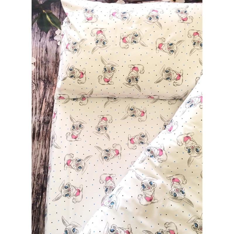 Детское постельное белье в кроватку Зайка