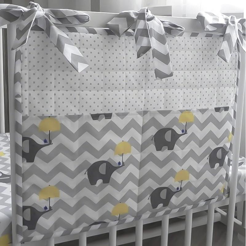 Дизайнерский органайзер на кроватку новорожденному Слоники Пети Пяточкина