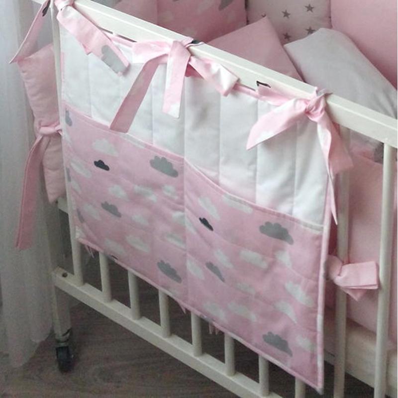 Дизайнерські кишені на ліжечко дівчинці Рожеві Хмари