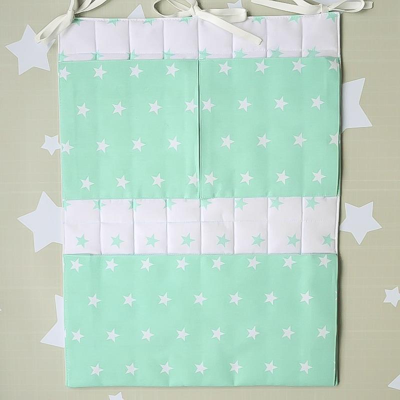 Карман на кроватку новорожденному Мятные Звезды