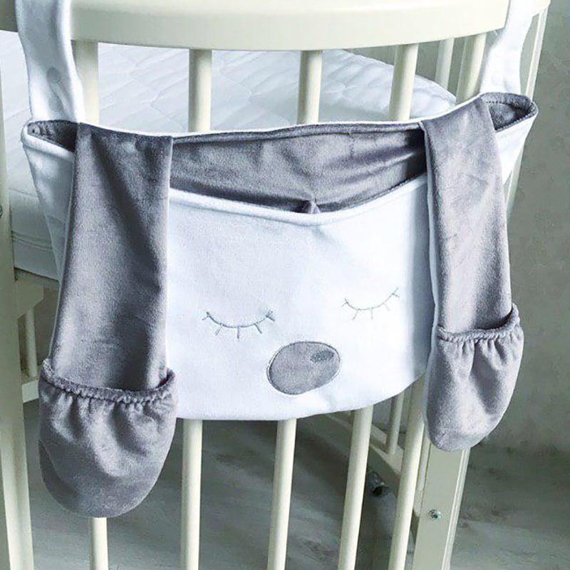 Органайзер handmade на дитячу ліжечко Сірий Зайчик