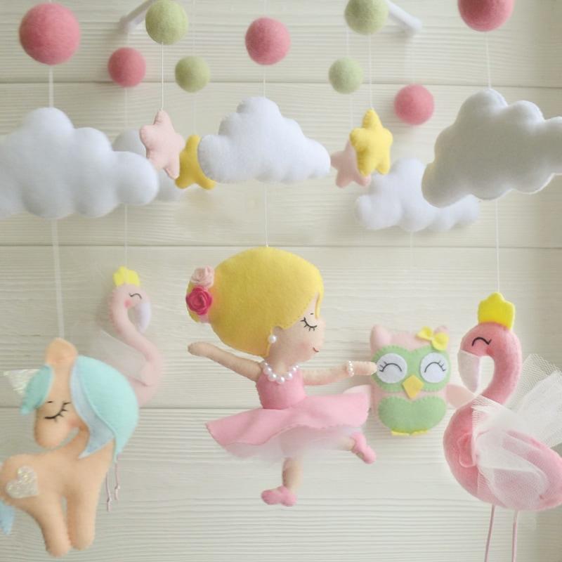 Мобиль на кроватку девочке Розовый Фламинго