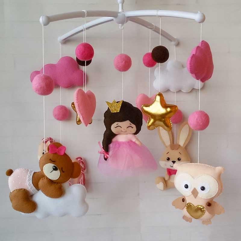 Мобіль на ліжечко для дівчинки Рожеві Сни
