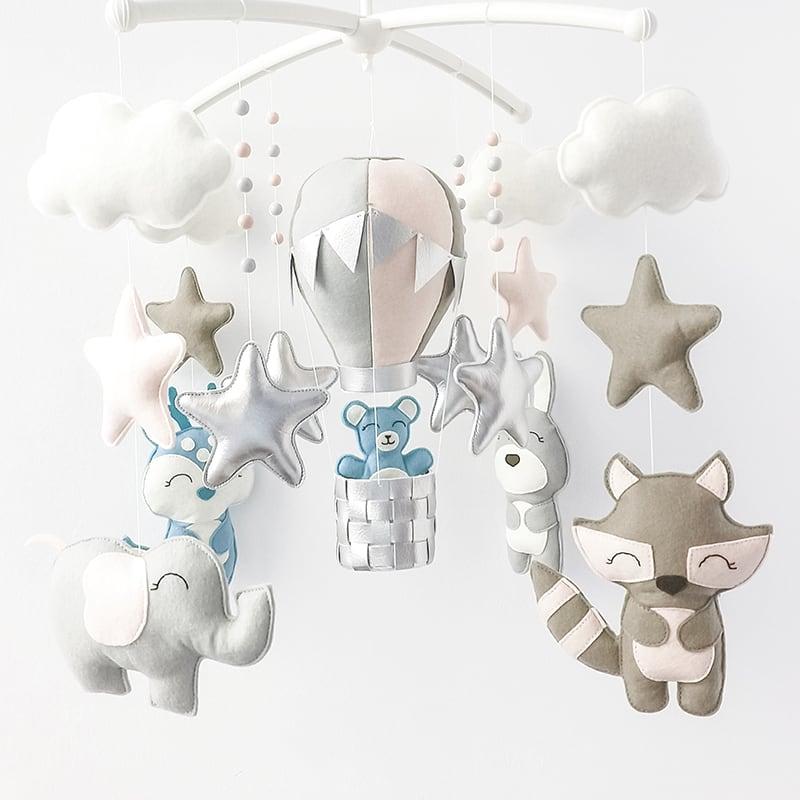 Мобиль на кроватку детям Слоник с Шариками