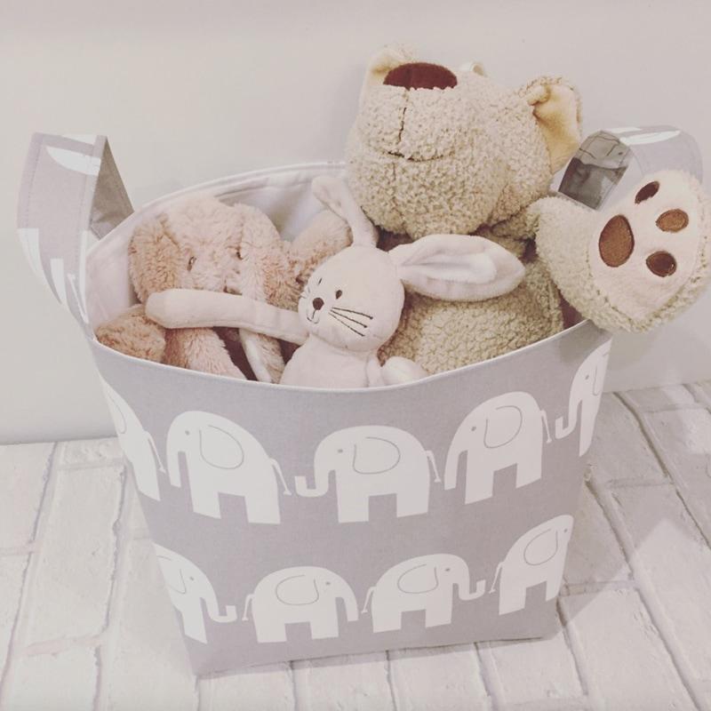 Корзина для игрушек ребенку Серые Слоники