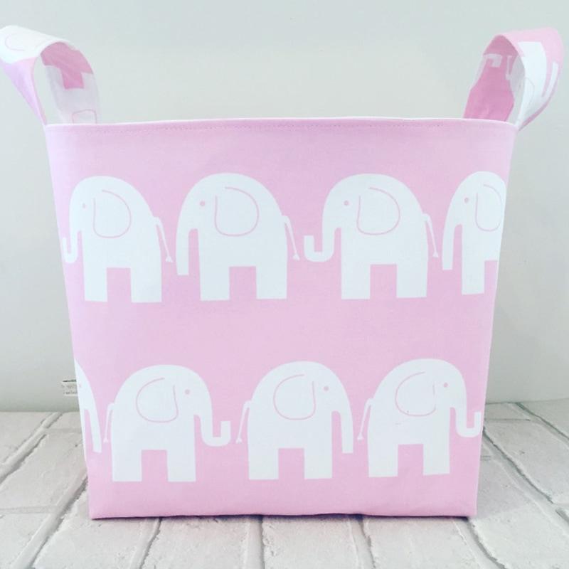 Корзина для игрушек девочке Розовые Слоники