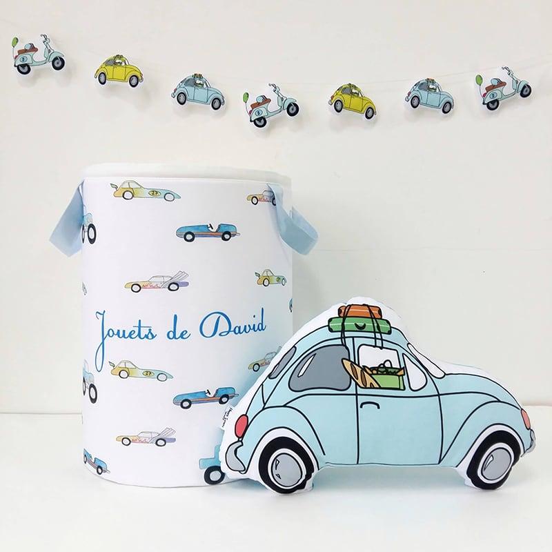 Дизайнерская корзина для игрушек мальчику Super Car именная