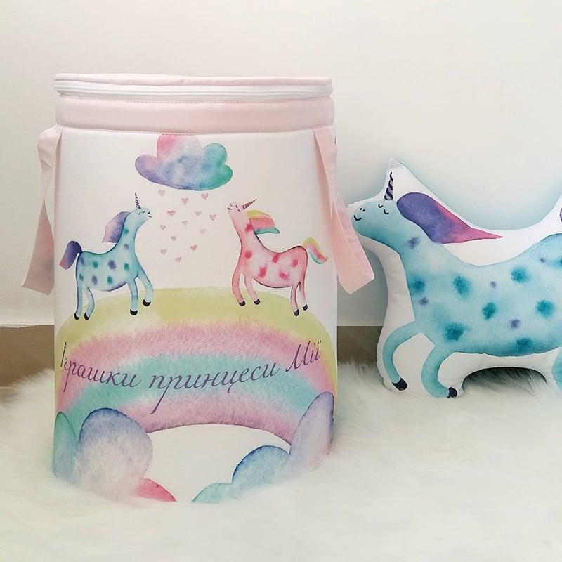 Кошик для іграшок дівчинці Magic Unicorn іменна