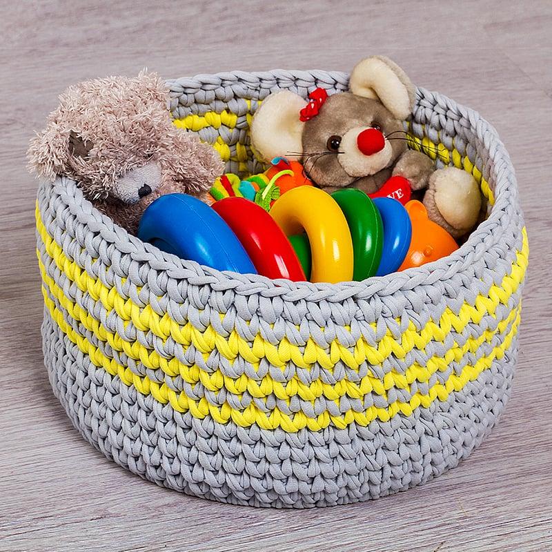 Кошик для іграшок в дитячу Yellow Chevron
