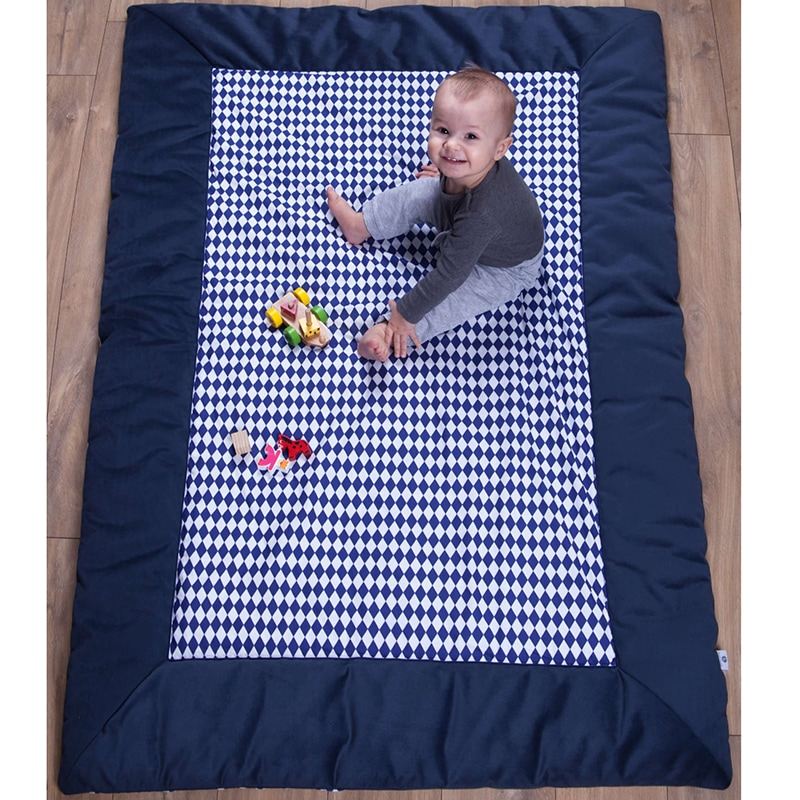 Коврик игровой для мальчика Синие Ромбы