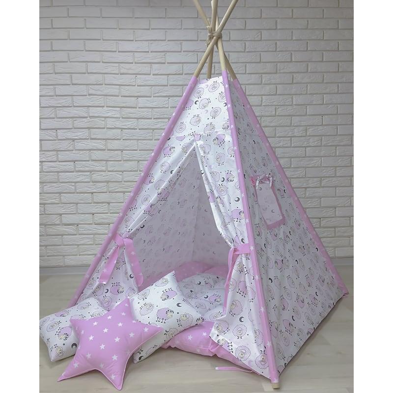 Авторский вигвам-палатка на заказ Розовый Барашек