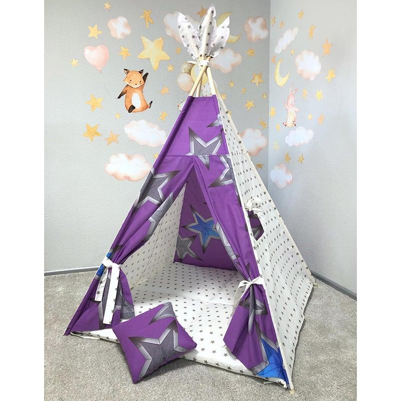 Вигвам палатка для детей Рассветная Звезда. Комплект 5 в 1
