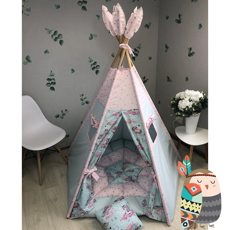 Детская палатка вигвам Из Звезд и Облаков. Комплект 5 в 1