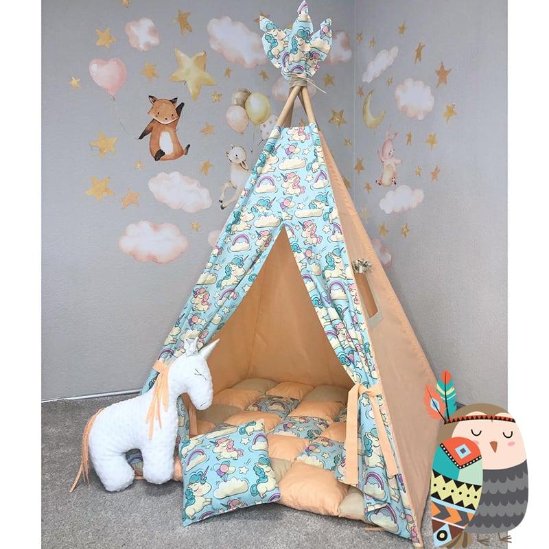 Вигвам палатка для детей Она Игрива. Комплект 5 в 1