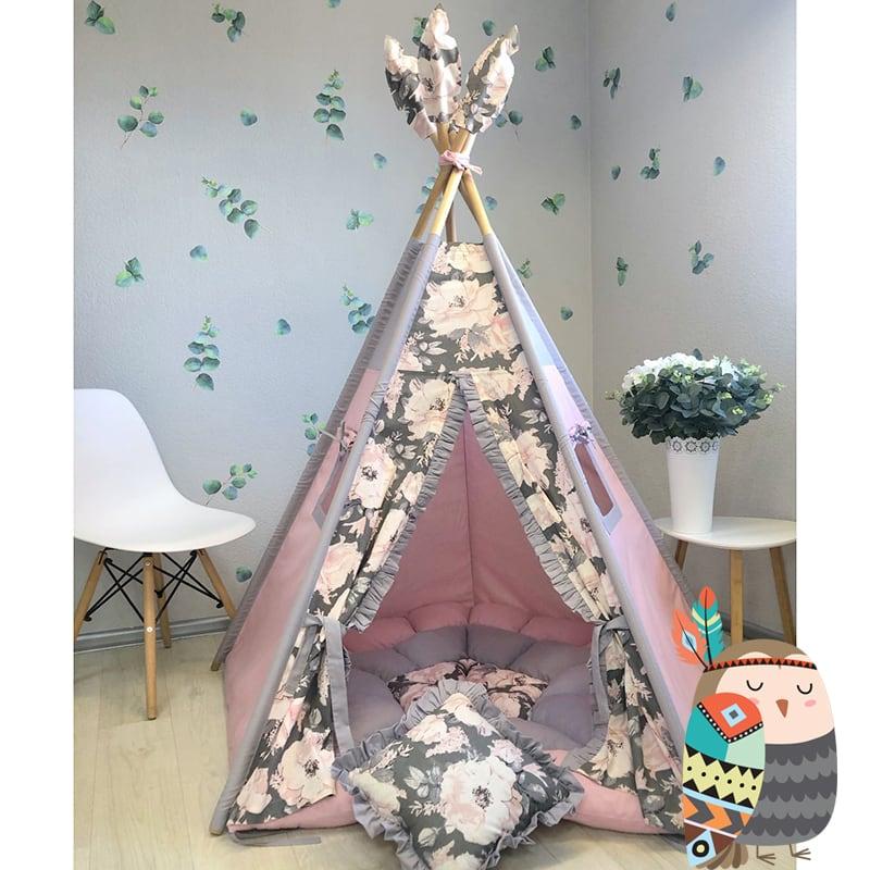 Детская палатка вигвам Цветущее Небо. Комплект 5 в 1