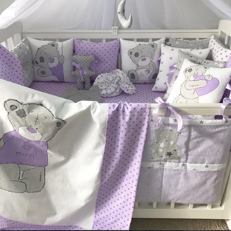 Защитные бортики в кроватку Сиреневый Тедди
