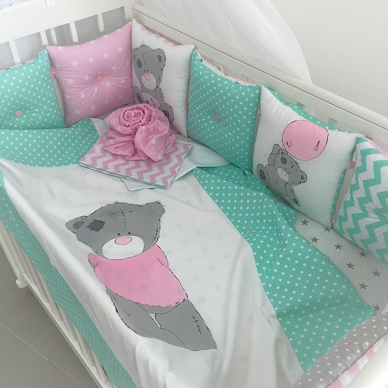 Борти-подушки в ліжечко дівчинки Тедді