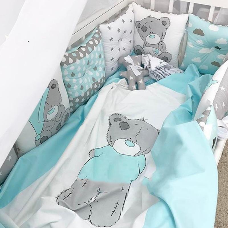 Защитные бортики-подушки в кроватку Мамин Медвежонок