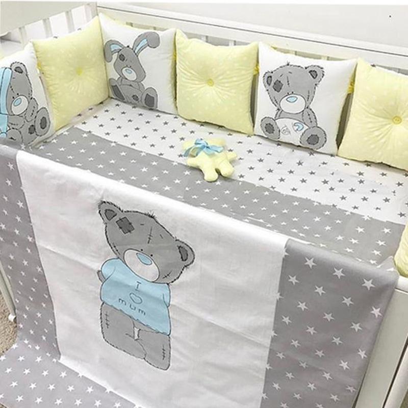 Захисні бортики-подушки в ліжечко Мій ведмедик