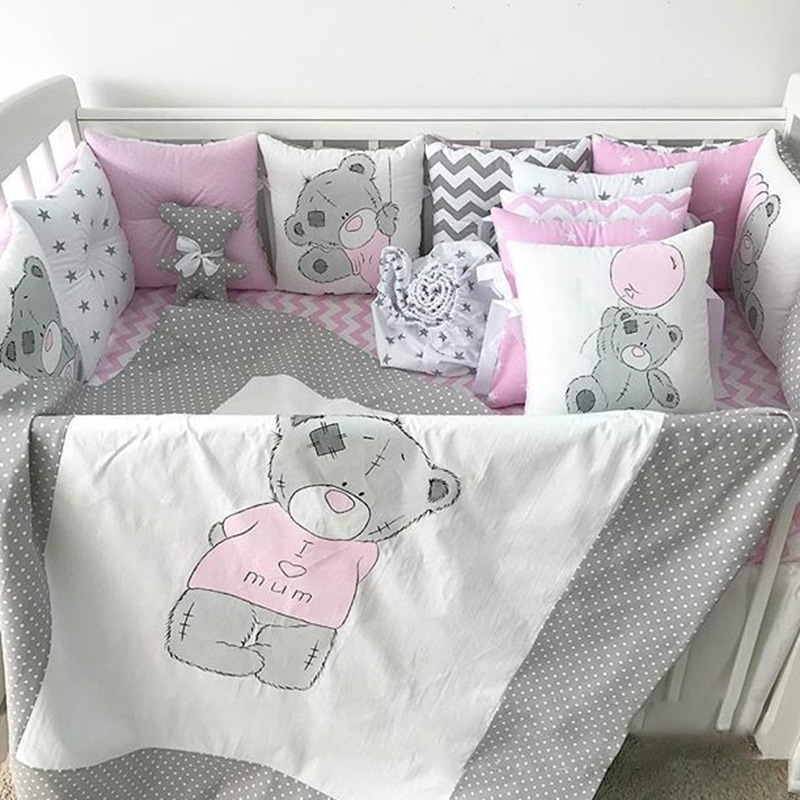 Захисні бортики в ліжечко дівчинці Ведмежа