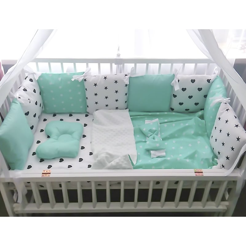 Защитные бортики-подушки в кроватку новорожденному Мятная Фантазия
