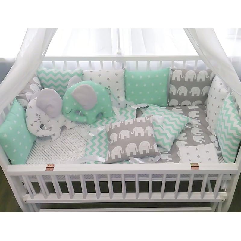 Защитные бамперы-подушки для кроватки новорожденного Мятный Слоненок