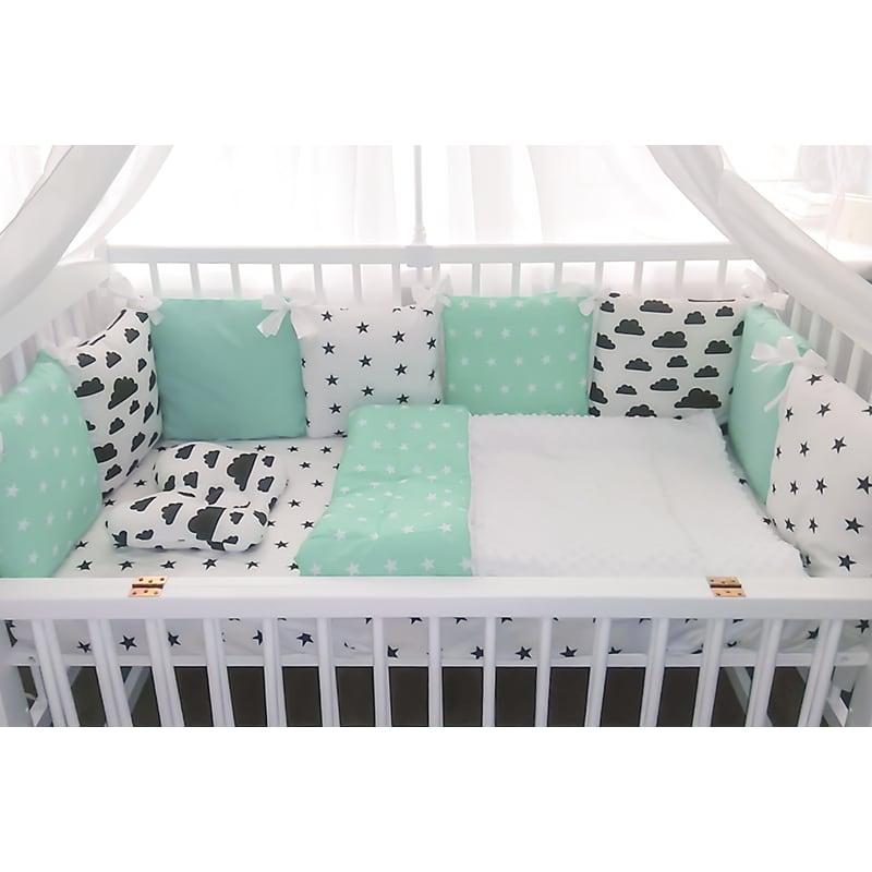Защитные бортики в кроватку новорожденному Облака и Мята