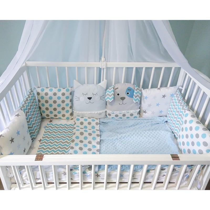 Захисні бортики-подушки в ліжечко новонародженому хлопчикові Кіт-Пес