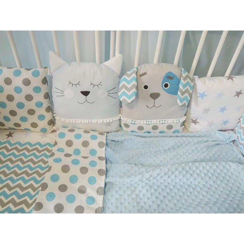 Защитные бортики-подушки в кроватку новорожденному мальчику Кот-Пес