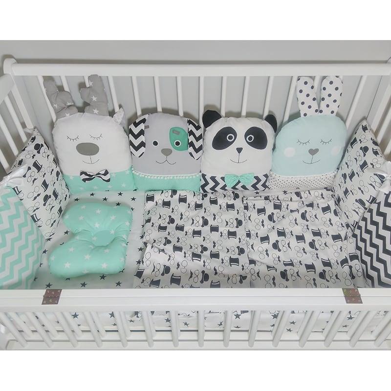 Захисні бортики в ліжечко новонародженому хлопчикові Містер Панда