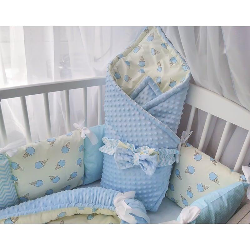 Бортики-подушки в кроватку новорожденному мальчику Сладкая Сказка
