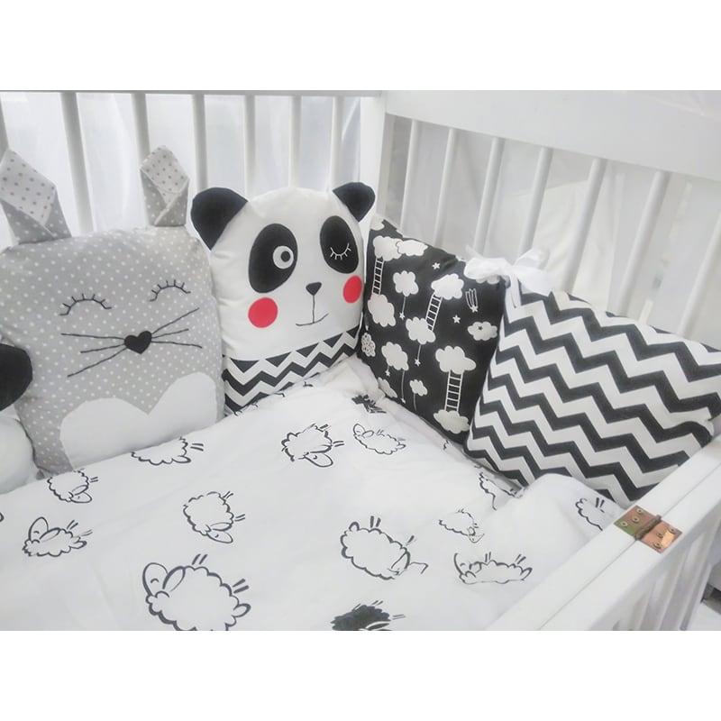 Защитные бортики в кроватку новорожденному Колыбельная от Панды