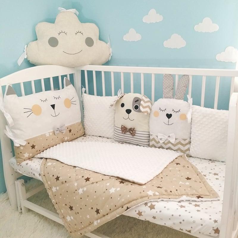 Защитные бортики в кроватку новорожденному Зайкины Друзья