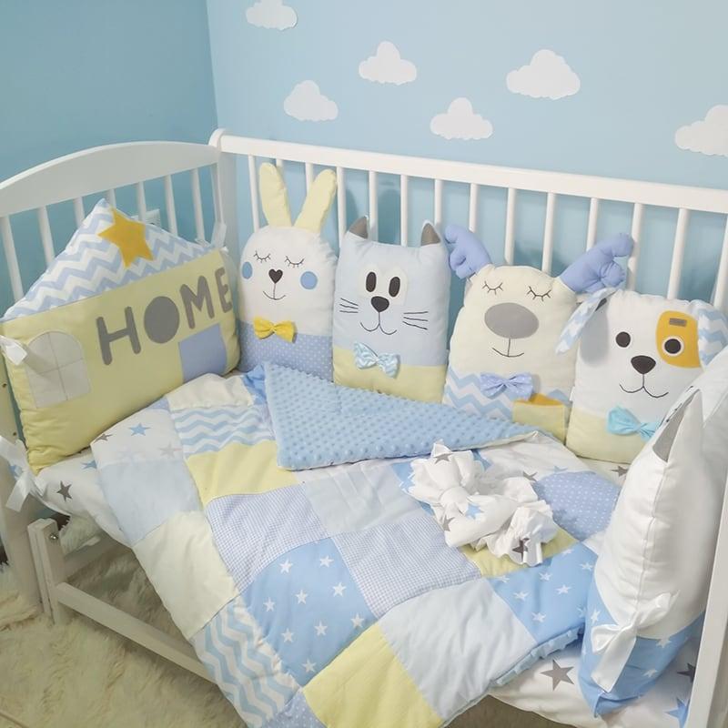 Дизайнерські бортики-подушки в ліжечко новонародженому хлопчикові Я і Мої Друзі