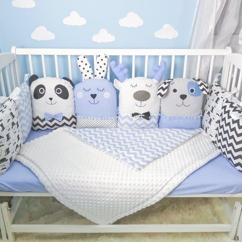 Защитные бортики-подушки в кроватку мальчику Пестрый Лес