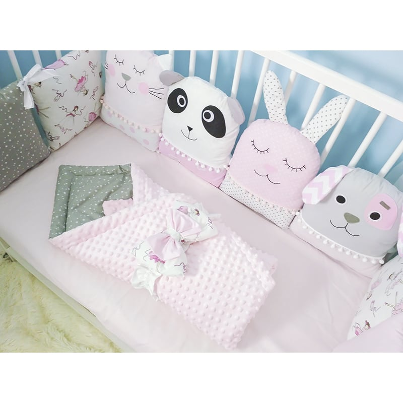 Защитные бортики на кроватку девочке Лесной Бал