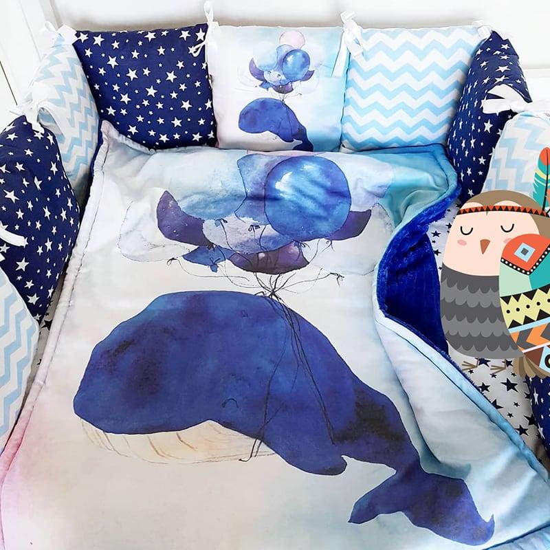 Защитные бортики в кроватку Голубой Полосатик
