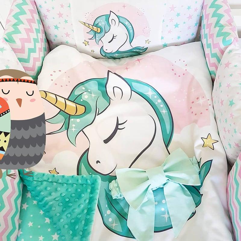 Бортики для кроватки Голубой Единорог