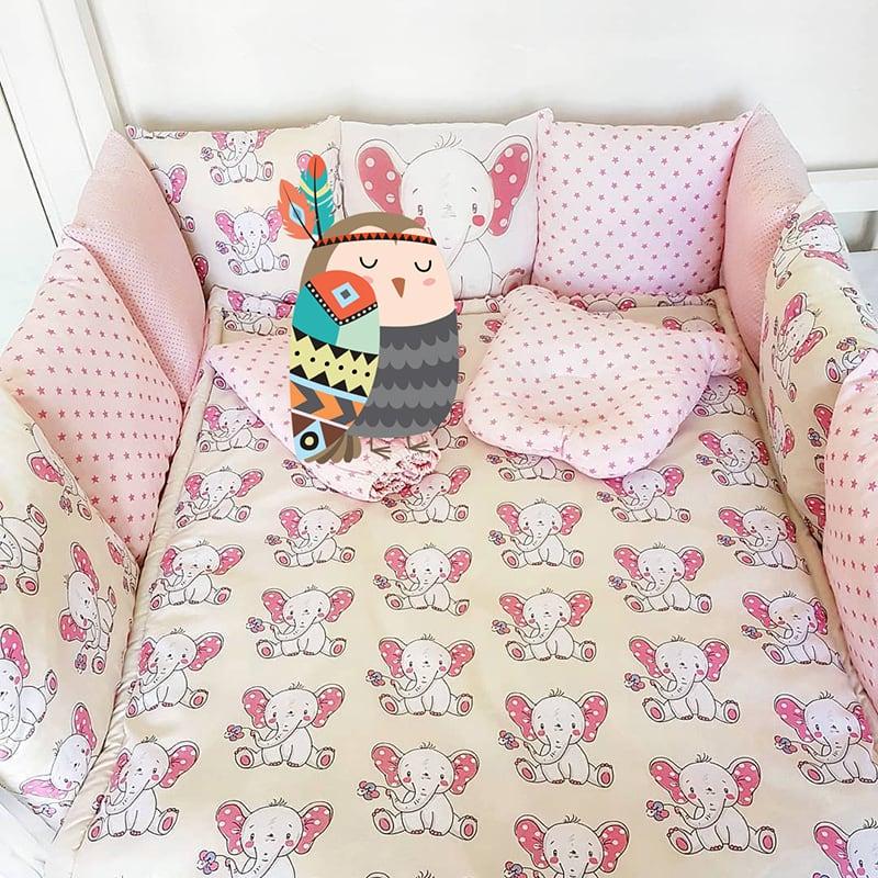 Бортики подушки в кроватку Розовый Слоник