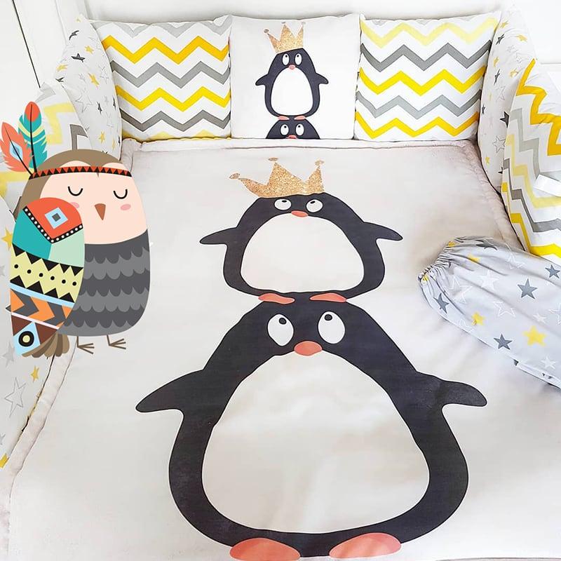 Защитные бортики для детской кроватки Принц Пингвиненок