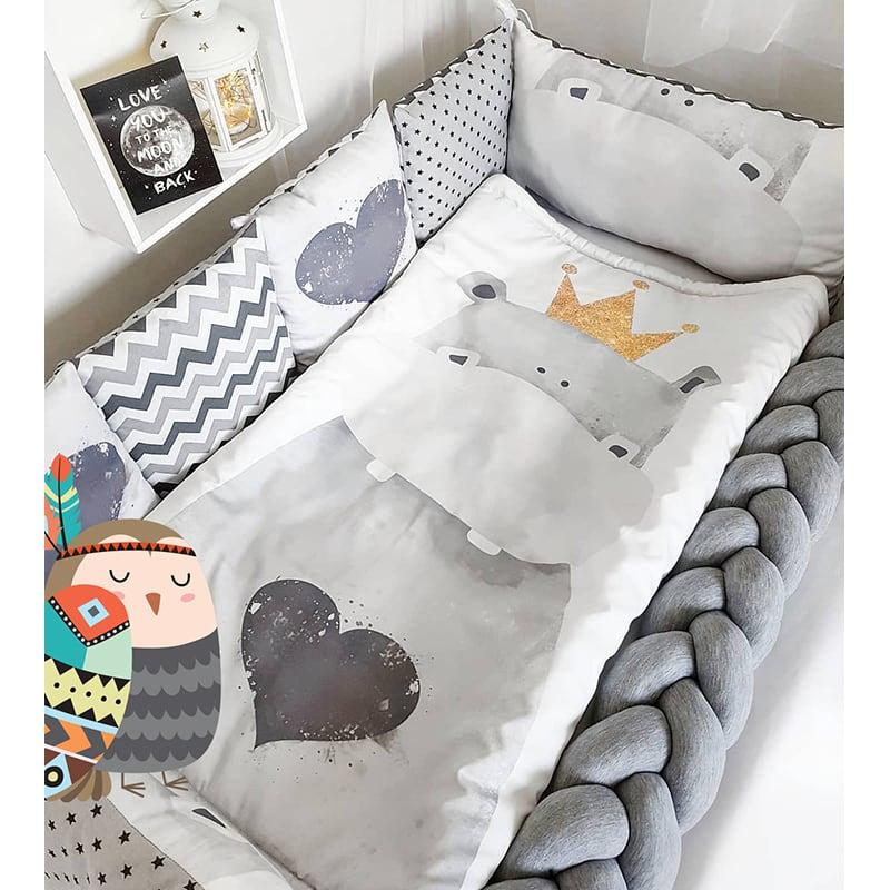 Бортики для детской кроватки Король-Бегемотик