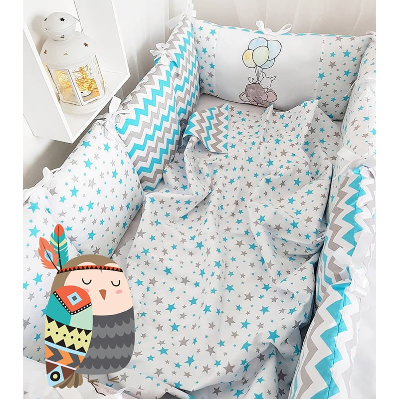 Бамперы-подушки в кроватку Слоник на Воздушном Шарике