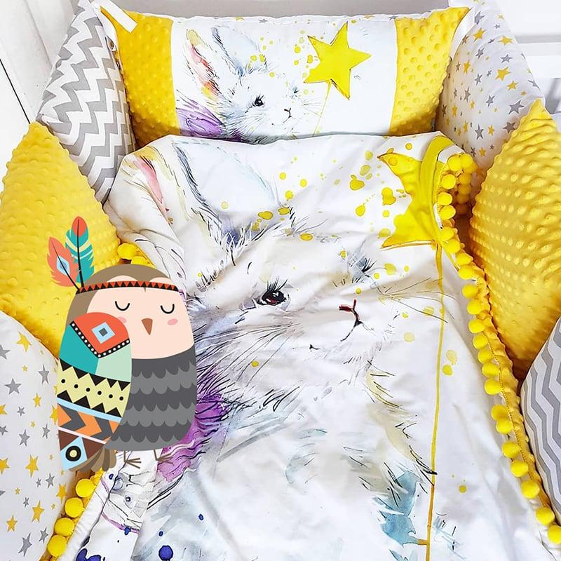 Бортики в дитяче ліжечко Зайчик Чарівник