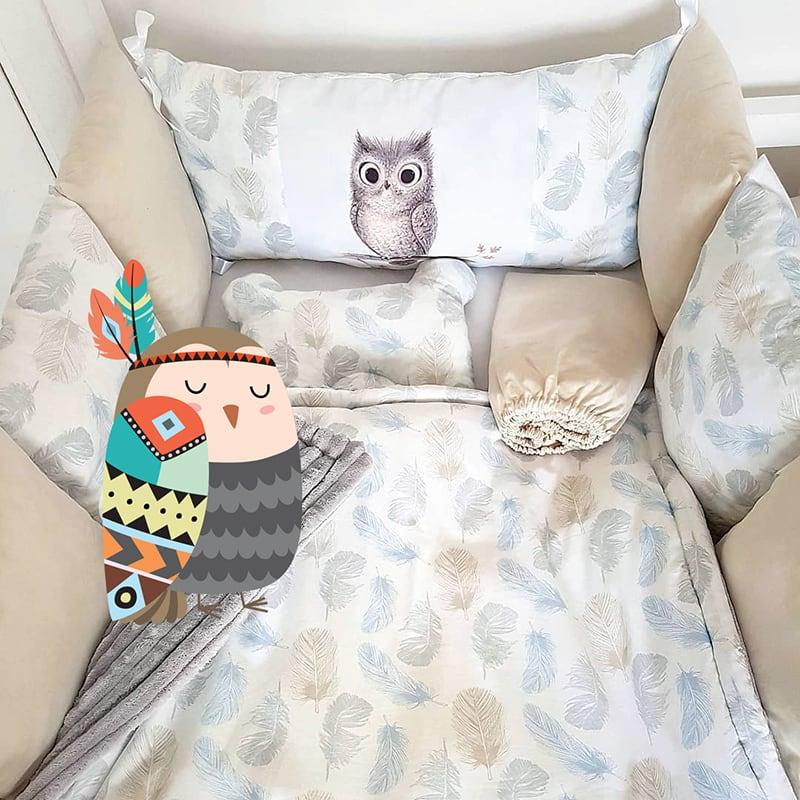 Защитные бортики в кроватку Маленький Совенок