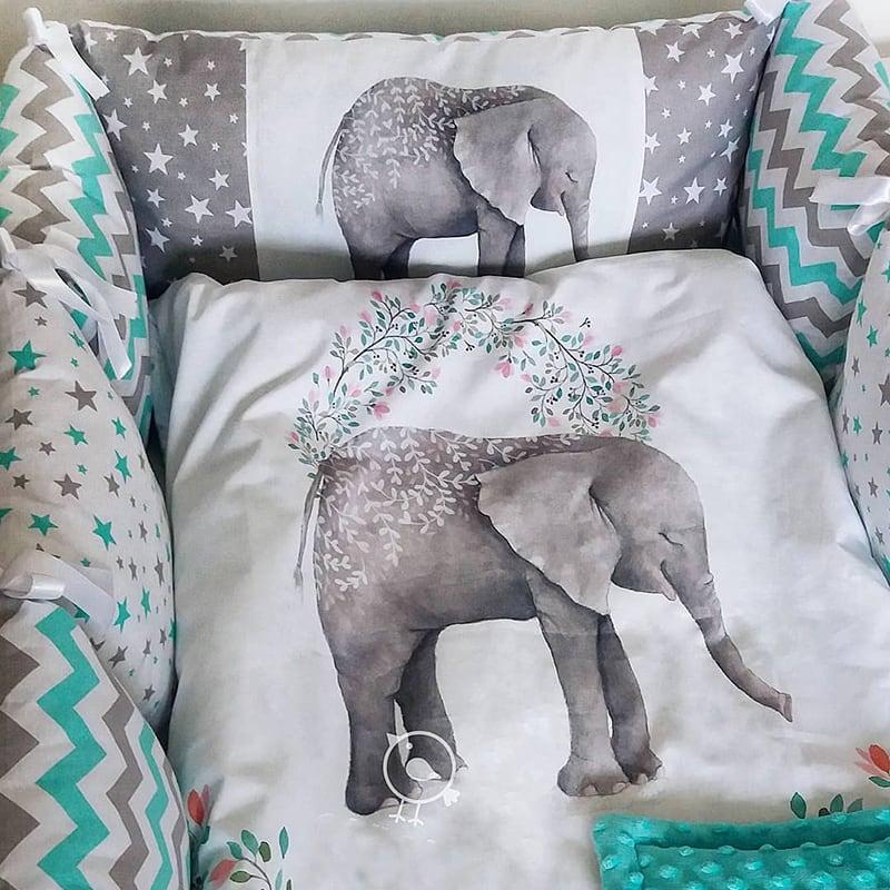 Бортики для детской кроватки Слоник и Сакура