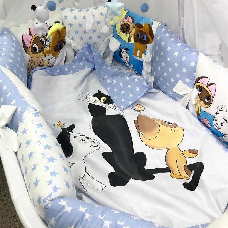 Захисні бортики в ліжечко хлопчикові Cats