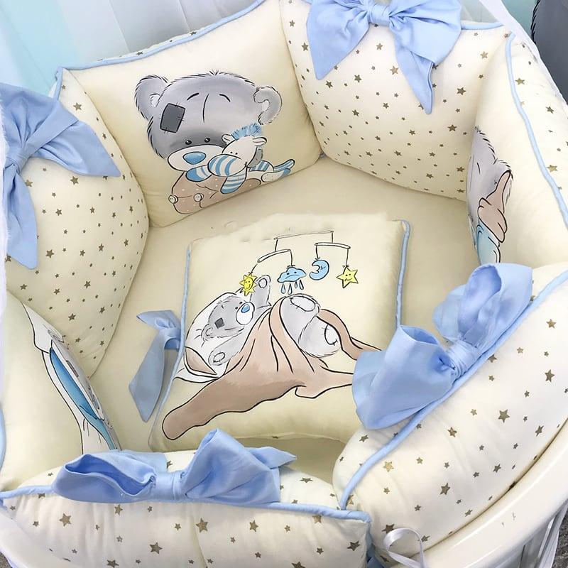 Бортики в ліжечко для хлопчика Prince Bear