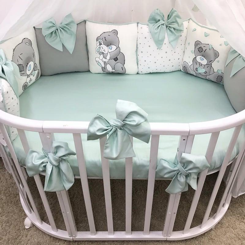 Бортики подушки в кроватку Teddy and Вunny