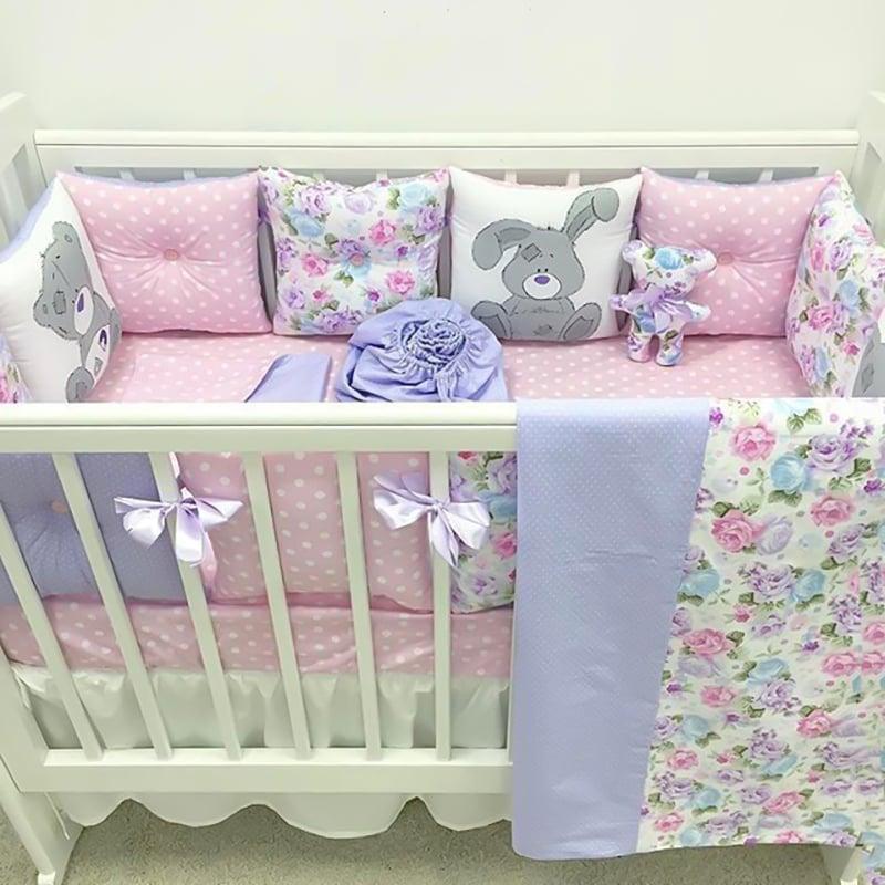 Бортики в кроватку девочке Зайка Шебби