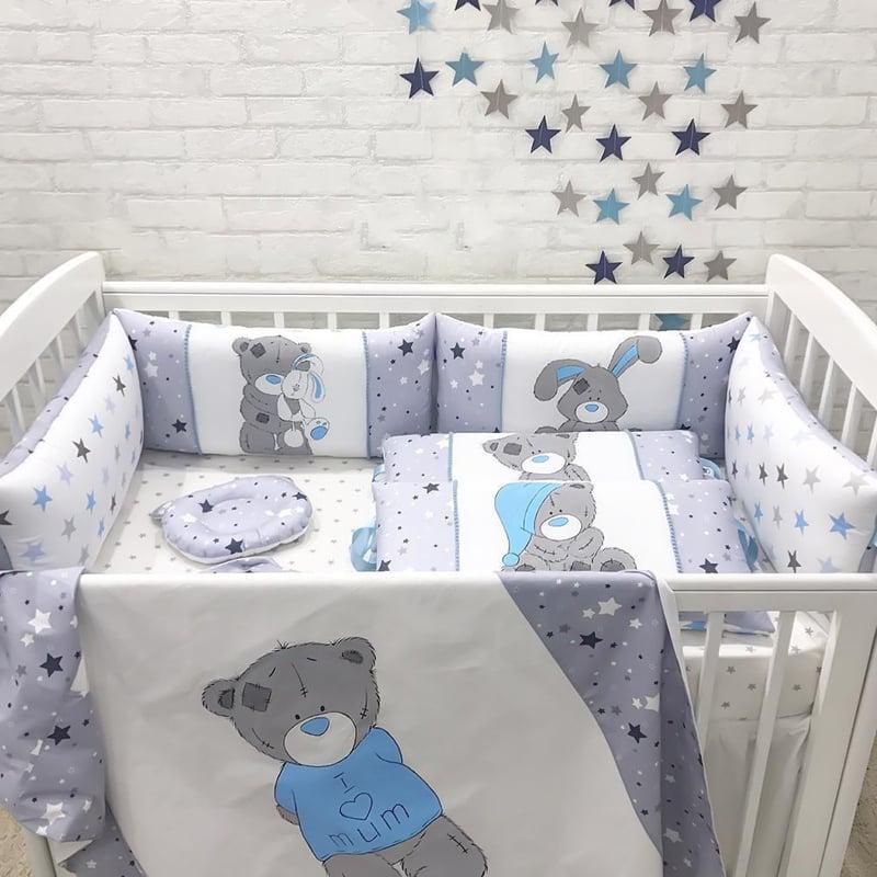 Бамперы подушки в кроватку мальчику Зимний Мишутка